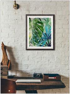 Floral Feuilles Mode Imprimé Affiche Accueil mur intérieur photo ...