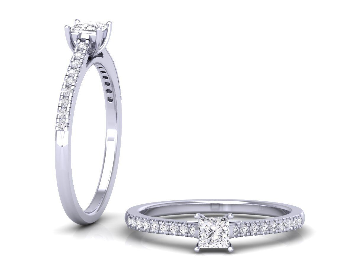 dfae3d8ec79c7 Solitaire Princess & Round Brilliant Cut Diamonds Engagement Ring ...