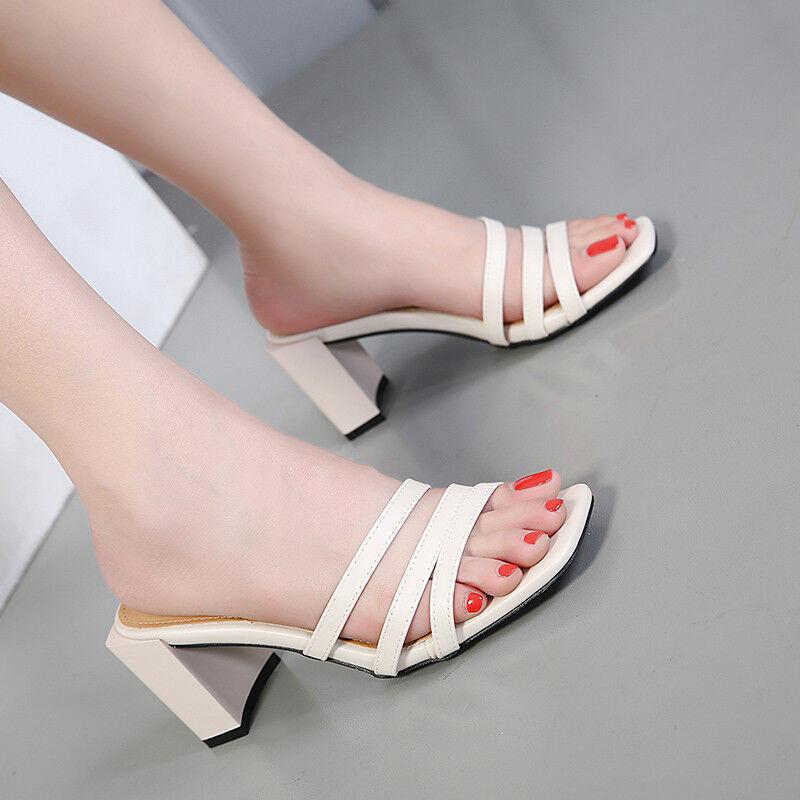 Sandale sabot  bianco 7 cm ciabatte quadrato comodi  simil pelle eleganti 9866