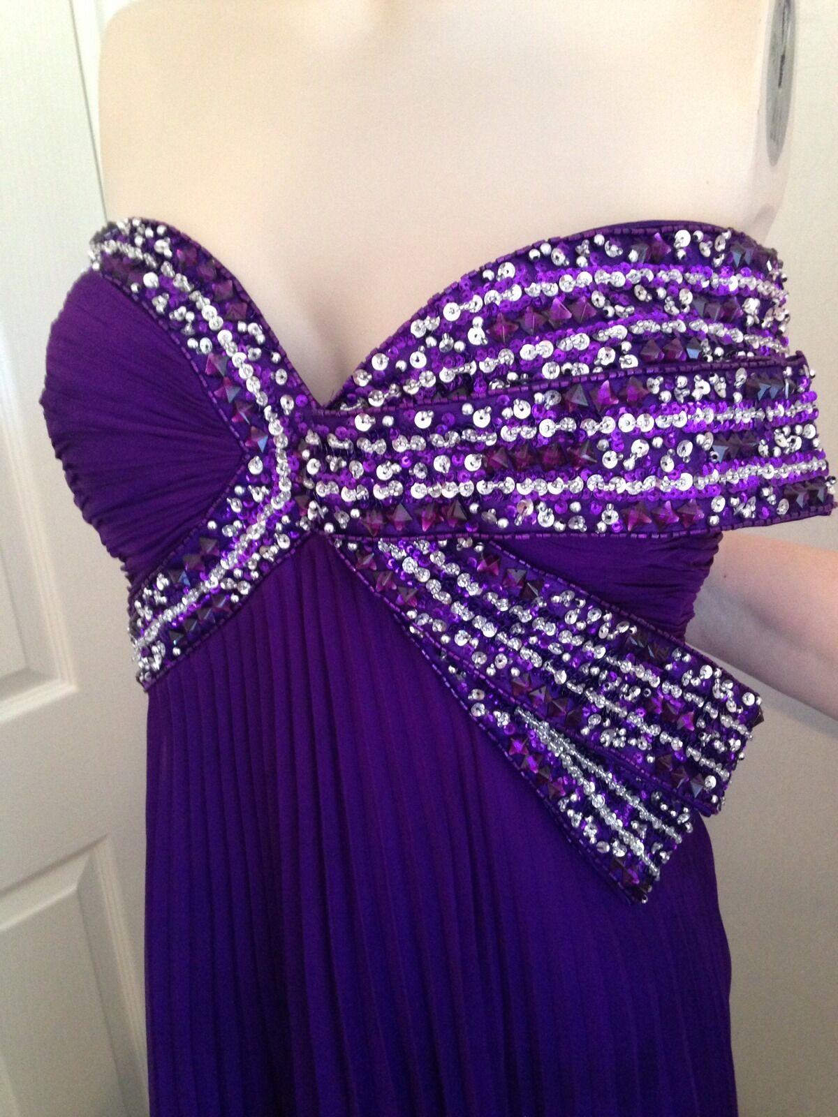 Forever Unique Purple Diamante Long Evening Prom Bridesmaid Dress Size 16