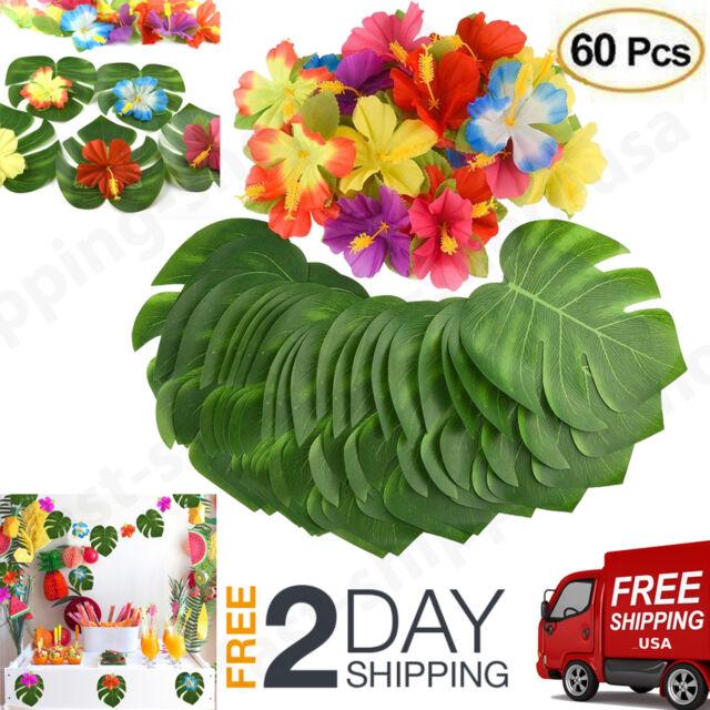 60 Pcs Table Decorations Supplies Moana Themed Party Tropical Hawaiian Leaves