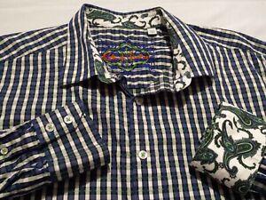 Robert-Graham-Mens-2XL-L-S-Button-Front-Multicolor-Plaid-Check-Flip-Cuff-Shirt