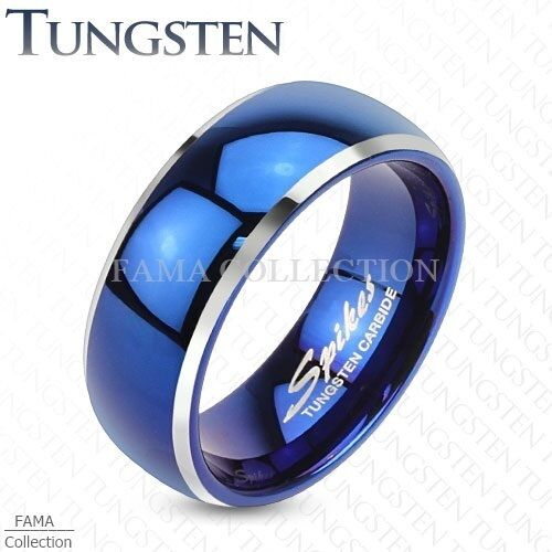 Trendy FAMA TUNGSTEN Blue IP Centered Dome w/ Beveled Edge Band Ring Size 9-13