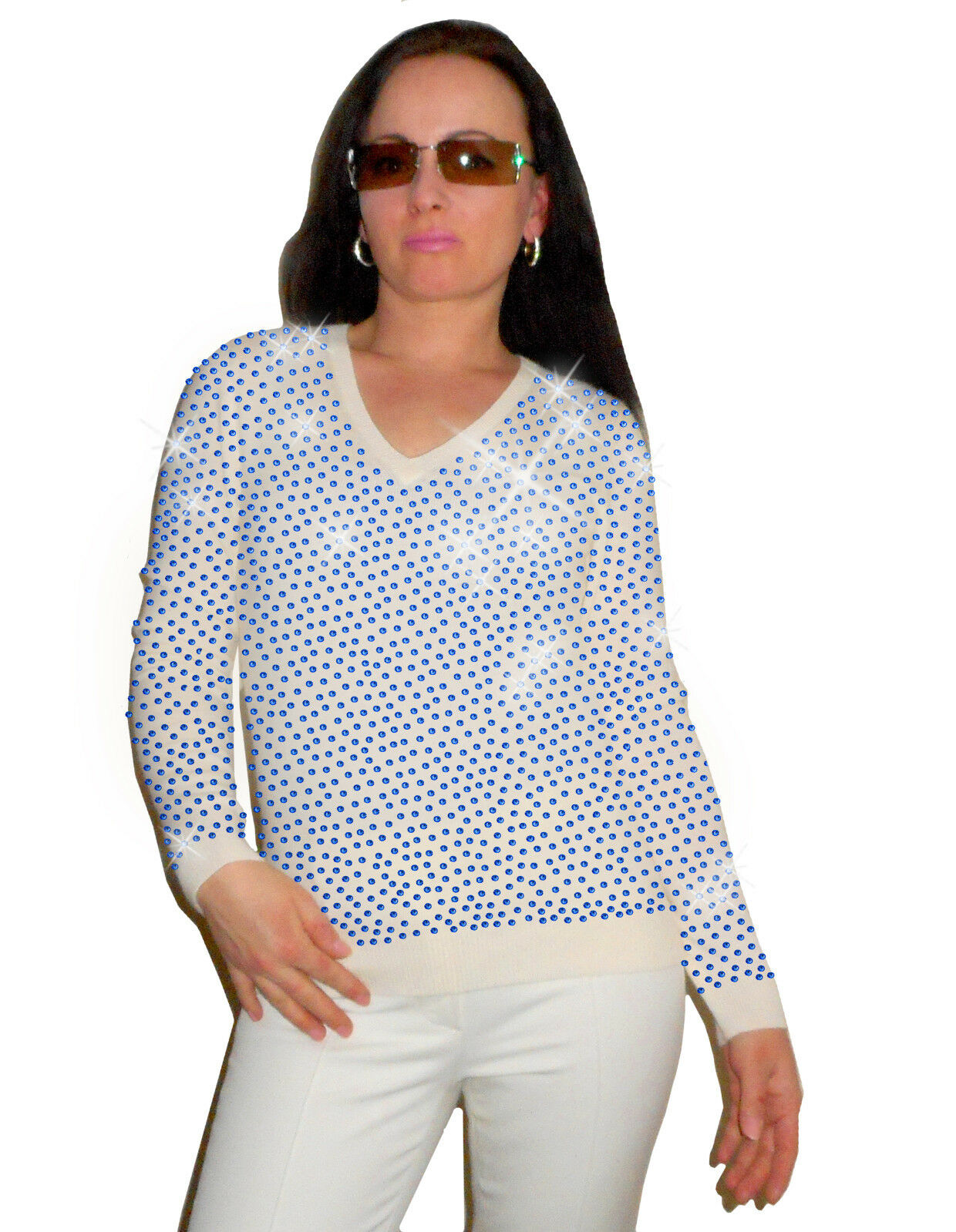Luxe Oh` Dor 100% 100% 100% Cashmere Sweater Elite White Royal bluee 42 144 5 12FT   L 3ba377