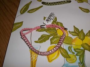 Brighton-Adjustable-Pink-Cable-Bracelet-With-Silver-Tone-Beads-New-With-Tags