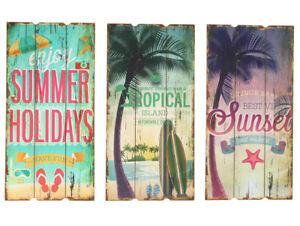 Shabby-Chic-Dekoschild-Wandschild-Schild-Hot-Summer-Vintage-Holz-60cm