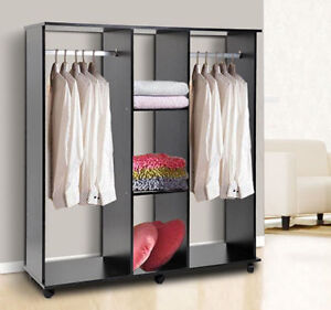 Double Mobile Open Wardrobe Bedroom Storage Shelves W Clothes ...