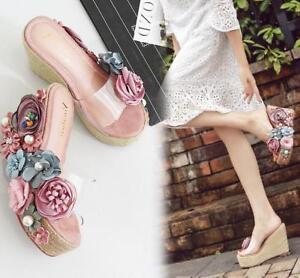 dcf7b1fdee5 A1 Women's Pearls Wedges Platform High Heels Sandals 3D flower Flip ...