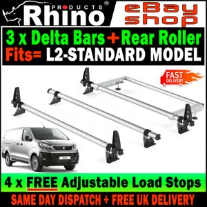 L2-STANDARD Peugeot Expert Roof Rack Bars x3 Rhino and Rear Roller For 2016-2019 Akcesoria samochodowe