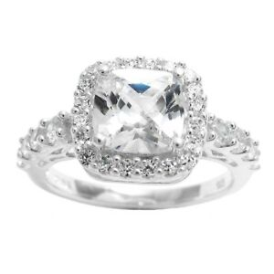 Details About 925 Sterling Silver Beautiful 3 0 Carat Cushion Cut Cz Engagement Ring Size 6 9