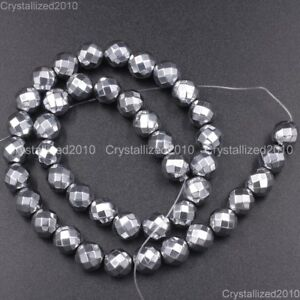 Hematite-Gemstone-Faceted-Round-Ball-Beads-Silver-2mm-3mm-4mm-6mm-8mm-10mm-16-039-039