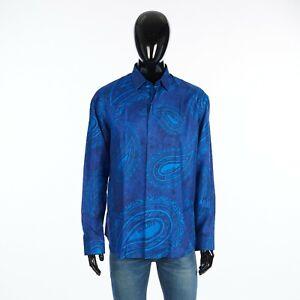 BERLUTI 1080$ Paisley Print Shirt In Blue Silk