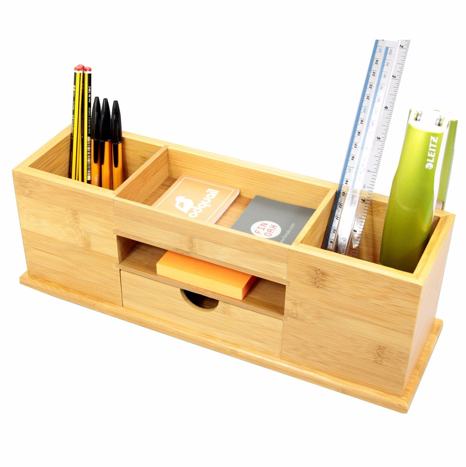 Bamboo Desk Tidy with Drawer, Wide Stationery Organiser