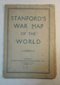 Vintage-WW2-era-Stanford-039-s-War-Map-of-the-World-Large-Wall-Otway-Hamilton