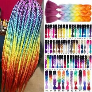 Us Long Kanekalon Rainbow Small Braids Crochet Box Braiding Hair Extension Ombre Ebay