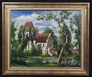 Pierre-Leconte-1904-1961-Kirche-von-Criquebeuf-Framed-Oil-Malerei-Normandie