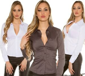 CHEMISIER-CHEMISE-FEMME-TOP-SEXY-BUSINESS-STRETCH-KOUCLA-FINES-RAYURES-T-M-38
