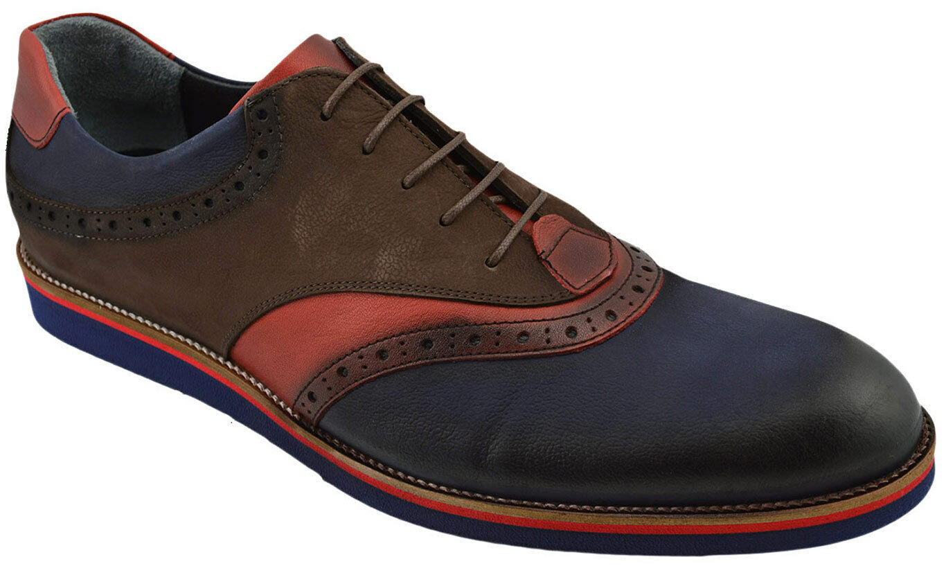 230 NUKTE Blau braun rot Leather BROGUE Lace Up Oxfords Casual Dress Men schuhe