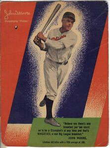 1930-039-s-Wheaties-Cereal-Box-Panel-Baseball-John-Moore-Philadelphia-Phillies-Fair