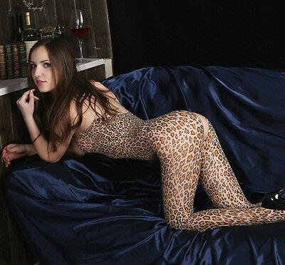 Sexy Women Sexy Leopard Open Crotch Bodystocking Bodysuit Lingerie Crotchless
