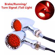 20 LED Chrome Housing Stop Brake/Running Turn Signal Tail Light For Motorcycles