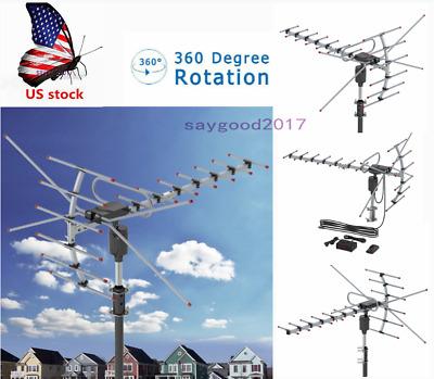 360°Rotation Outdoor Antenna Amplified Digital Signals 15-22dB HD TV 110 Miles