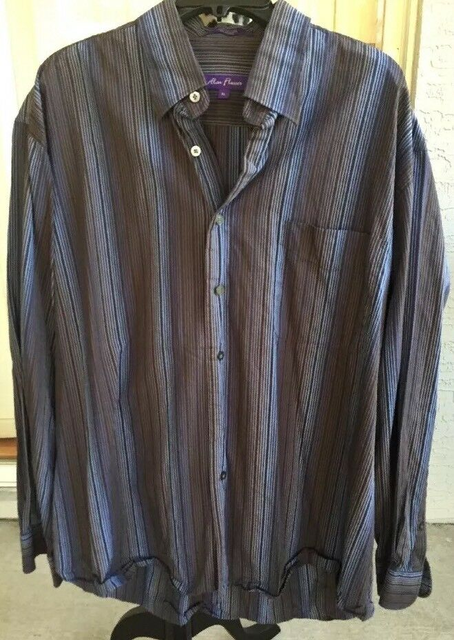 43c206ae9 ... Alan Flusser Striped Long Sleeve Dress Shirt Button Down Brown Blue XL