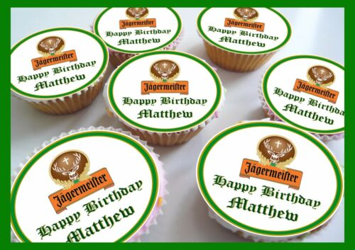 24 x Jagermeister Anniversaire Comestible Personnalisé Cupcake Toppers