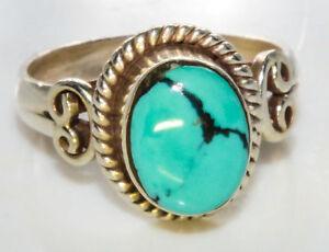 Sterling-Silber-ethno-asiatische-Vintage-Style-tuerkis-Stein-Ring-Groesse-K-1-2-Geschenk