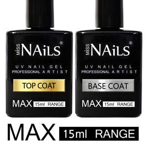 15ml BIG MAX Range Miss Nails® TOP and BASE COAT UV LED Nail Gel Soak Off Polish