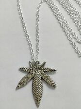 "A Marijuana Weed Leaf  (33x38mm) Tibetan Silver Charm Pendant,30"" Chain Necklace"