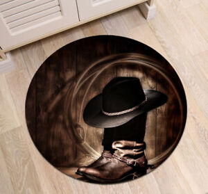 Cowboy Boots Black Hat Round Floor Mat Bedroom Carpet Living Room
