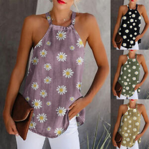Womens-CAMI-Ladies-Vest-Blouse-Shirt-Sweatshirt-Holiday-Loose-Tee-Floral-Tops