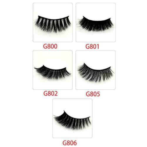 Details about  /5Pairs 3D Eyelashes Hand Made Reusable Natural Long Mink Deco Eyelashes Q7Y1