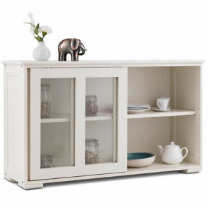 Image Is Loading Storage Cabinet Sideboard Buffet Cupboard Gl Sliding Door
