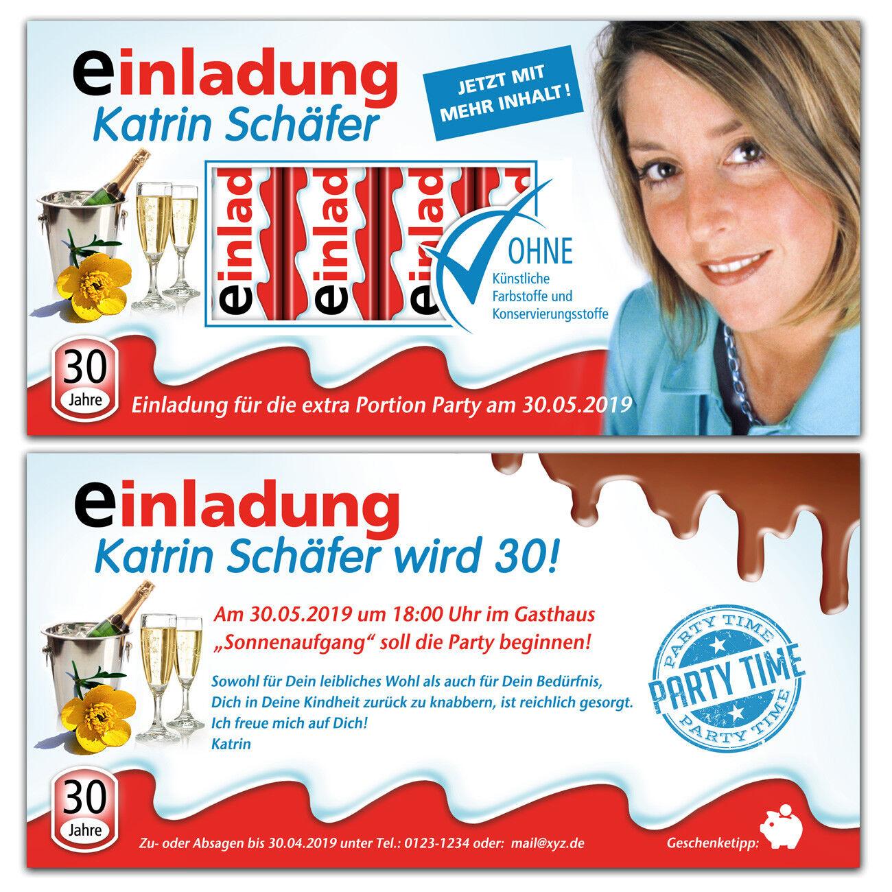 Einladungskarten Geburtstag Schokolade, mit Bild, nicht nur für Kinder | Qualität  | Hohe Qualität Und Geringen Overhead