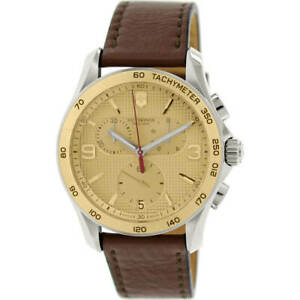 Victorinox Swiss Army Men's Watch Chrono Classic Brown Leather Strap 241659