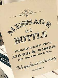 Vintage/Rustic \'Message in a bottle\' wedding sign - guestbook ...