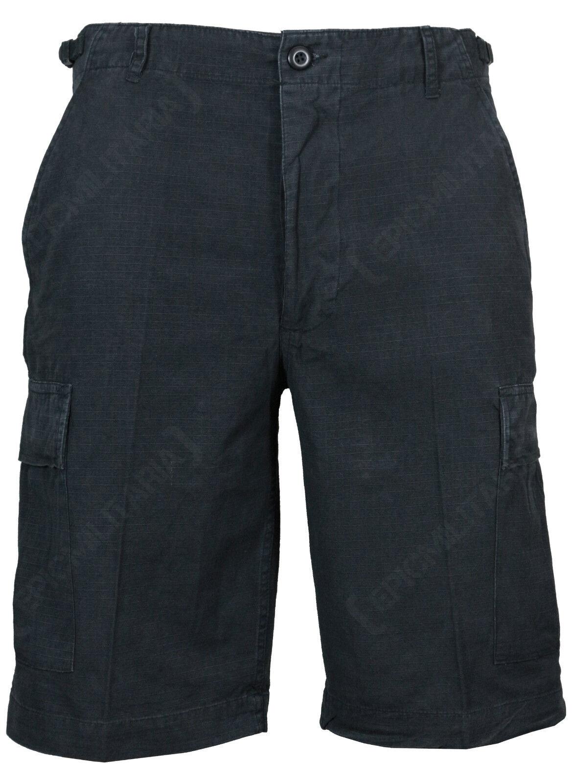 BDU Cargo pantaloncini neri - Tutte Le Misure - 100% Cotone RIPSTOP Combat
