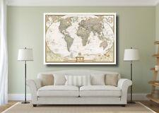 Vintage World Map Large Poster Wall Art Print - A0 A1 A2 A3 Maxi