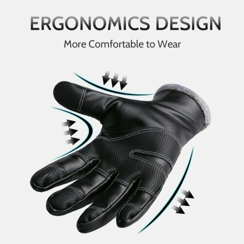 NEW PU Leather Motorcycle Motorbike Gloves Warm Safe Touchscreen Waterproof