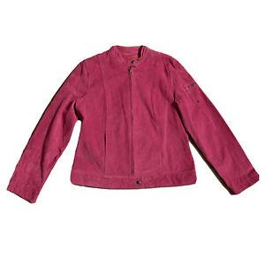 I.E. Relaxed Womens Pink Suede Jacket Mauve Leather Bomber Coat Zip up Medium