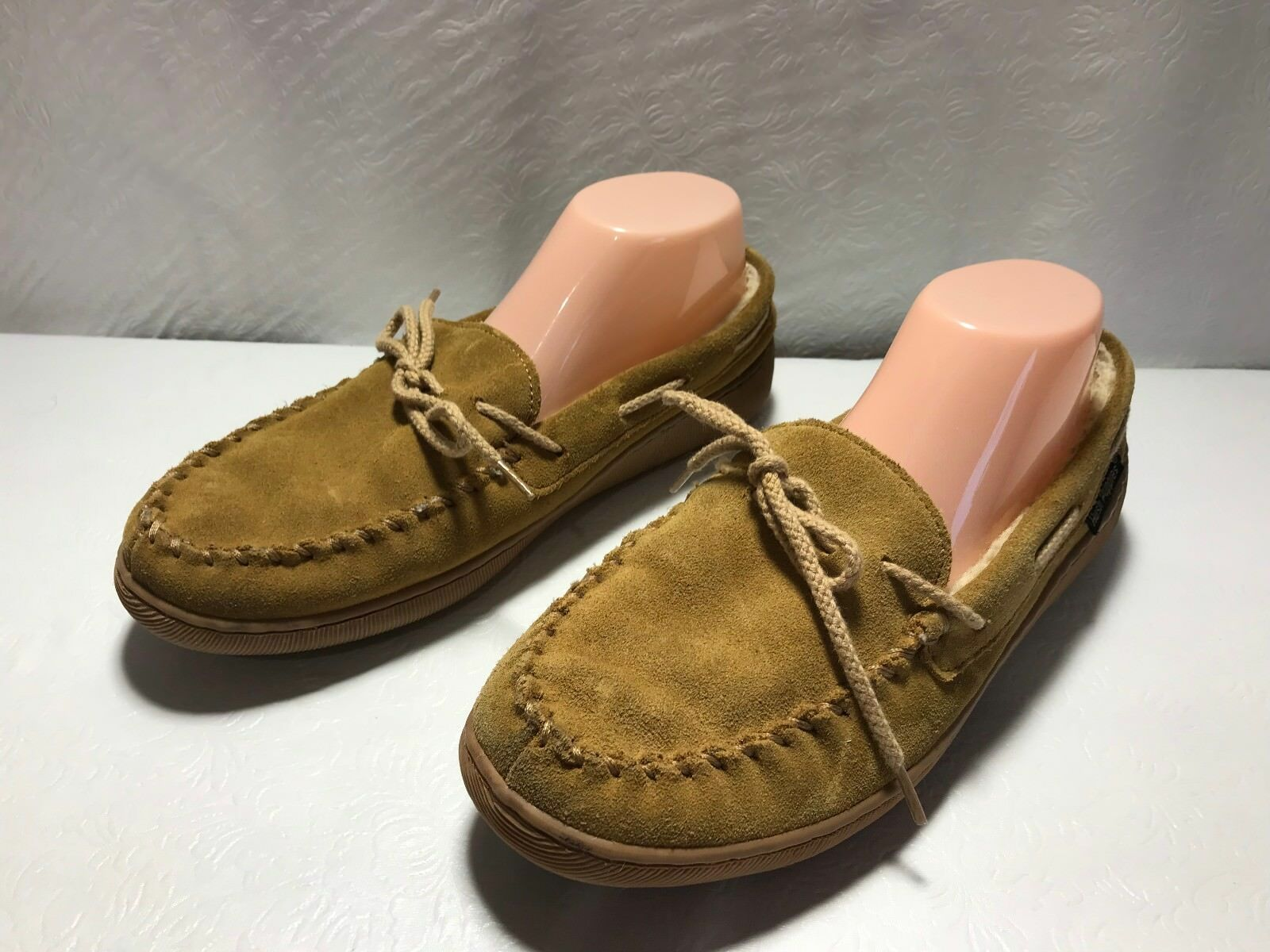 HUSH PUPPIES Women's Sz. 9 Suede Leather Faux Shearling Lined Slipper