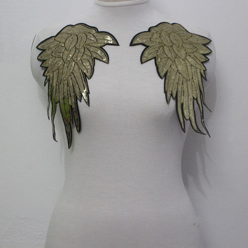 Mirror Pair Angel Wing Gold Sequined Applique Motif Sew On Clothing Accessories