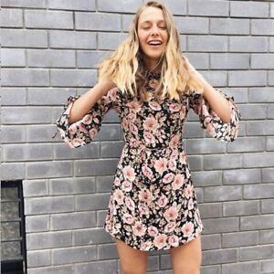 Topshop-Peony-Floral-Print-Blush-Pink-Tie-Sleeve-Tea-Dress-UK-10-14-16-BNWT