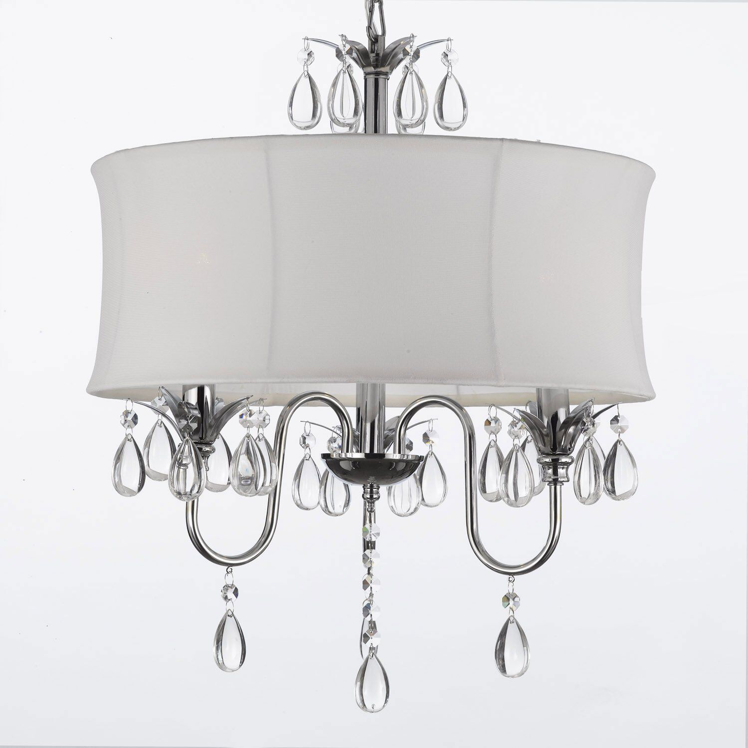 White Drum Shade Crystal Ceiling Chandelier Pendant Light