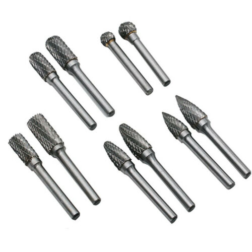 5pcs Tungsten Steel Carbide Burs Rotary Files Drill Bit Burr Grinder Cutter 6mm
