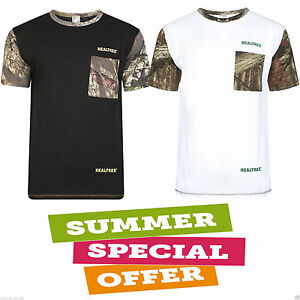 Mens-Crew-Neck-T-Shirts-Camouflage-Jungle-Real-Tree-Print-Polo-Size-S-M-L-XL-XXL