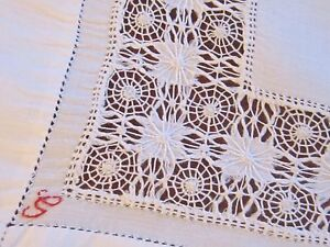 VINTAGE-HAND-EMBROIDERED-WHITE-LINEN-DRAWNWORK-TABLE-CENTRE-CLOTH-DOILEY