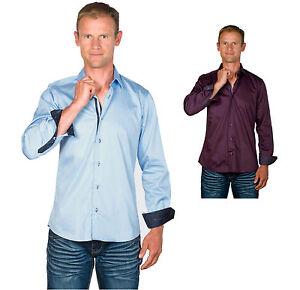 Ugholin-Camisa-para-Hombre-Casual-Ajustada-de-Manga-Larga-Dustin